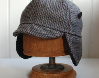 Flapjack L: Tweed wool earflap hat, cycling cap in gray plaid, mens winter hat, womens winter hat, made from recycled materials