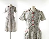 50s Vintage Dress   Pepper Vine   1950s Dress   M L