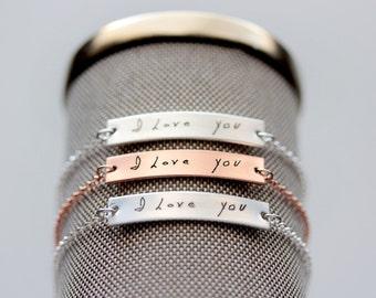 Handwriting Bracelet - Custom Engraved Handwriting Bracelet Writing Bracelet Custom Bracelet Signature Handwriting Bracelet Handwriting