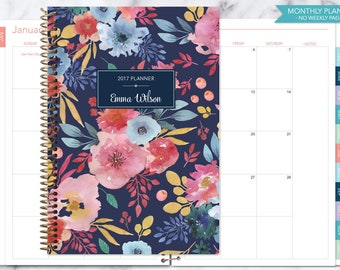MONTHLY PLANNER notebook | 2017 2018 no weekly view | choose your start month | 12 month calendar | navy blue pink watercolor floral
