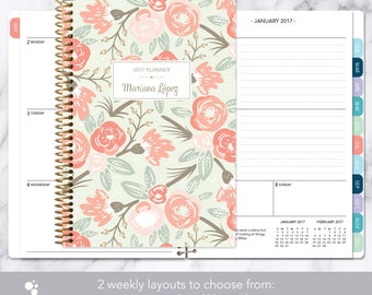 2017 planner 12 month calendar | add monthly tabs weekly student planner | personalized planner agenda | sage pink gold floral pattern