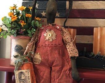 Primitive Easter Bunny Black Doll Folk Art Rabbit