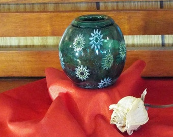 Sea Foam Green  Miniature Hand Blown Vase with snowflakes