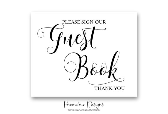 Wedding Guest Book Sign | Please Sign our Guest Book | INSTANT DOWNLOAD | Gold Wedding Signs | Guest Book Sign | Black | Gold | PS01