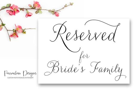 Reserved for Bride's Family Wedding Sign | Custom Wedding Sign | FS01
