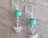 Green Chrysoprase Sterling Silver Bird Nature Healing Gemstone Earrings