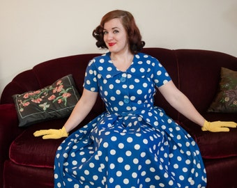 Vintage 1950s Dress - Charming Royal Blue and White Polka Dot Cotton 50s Day Dress with Wide Shawl Collar and Full Pleated Skirt