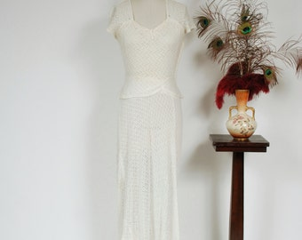 Vintage 1930s Wedding Dress - Gorgeous White Cotton Zig Zag Lace Late 30s Bridal Gown Sweetheart Neckline and Peplum