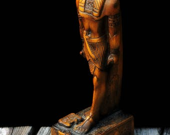 Vintage Thoth Egyptian Scribe God of Wisdom Statue Djeheuty Antique Wood Color Finish