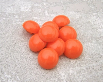 Small Orange Buttons, 13mm 1/2 inch - Flame Orange Dome Shank Buttons - 9 VTG NOS Bright Glossy Orange Plastic Buttons for Kids PL573 2LS