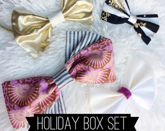 HOLIDAY BOW BOX - 4 bows - for baby, toddlers and girls - stocking stuffer