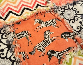 Zebras Flannel Rag Edge Quilt 30in by 40in Handmade for Babies, Toddlers and Kids