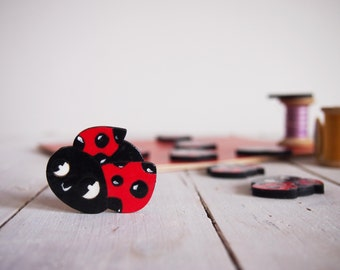 Ladybug brooch, handpainted wooden pin