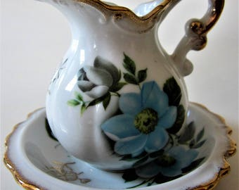 Pitcher Creamer Porcelain Bisque Blue Flowers Scalloped Bowl Under Plate Raised Gold Ornate Handle