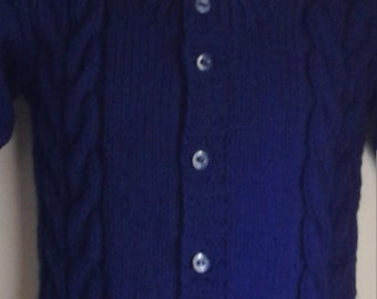 Hand knitted Unisex Navy Double Cable front and back Cardigan Size 4T