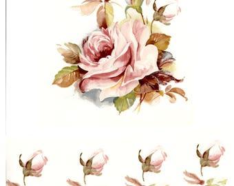 Decals for Ceramic, Pink Rose, Floral, Vintage, Retro -BULK LOT