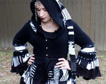 Black and White Bustle Coat- Upcycled Sweater Coat with a Medieval Liripipe Hood and Bell Sleeves- by SnugglePants