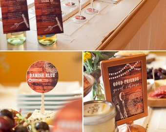 Wine and Cheese PRINTABLE Party Collection - You Customize EDITABLE TEXT >>Instant Download | Paper and Cake