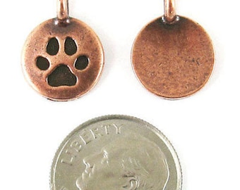 TierraCast Pewter Charms-Copper ROUND PAW PRINT 12x16mm (2)