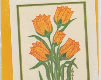 Vintage yellowTULIPS PRETTY FLOWERS arts and crafts project,garden, gardening, red and orangish