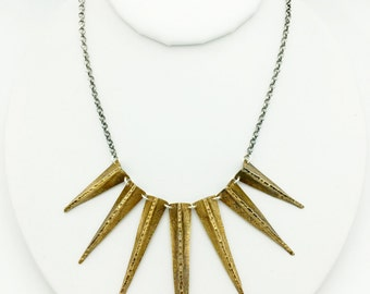 Golden dagger burst necklace - mixed metal jewelry - brass jewelry - silver jewelry - handmade - artisan jewelry