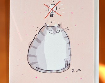 Funny Cat Card - No Idea - Cat Lover Card - Large Card