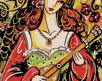 music folk painting, folk art print, folk wall art, bard art print 8x11.5+