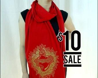 10 Dollar SALE! Golden Sacred Heart Red Sheer Cotton Scarf