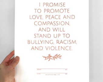 Promise of Peace screenprint, Promote Peace Print, Message of Peace & Love, love art, anti-bullying anti-racism anti-violence, good vibes