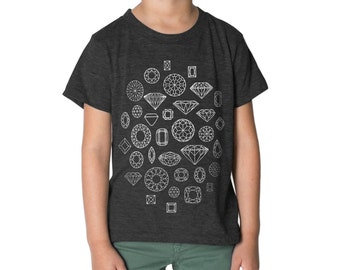 Diamond T-shirt, Kids Black Shirt, Cool Kids Clothes, Geometric Graphic Tee, Childrens Clothing, Diamonds T Shirt, Jewels Gemstone Gems