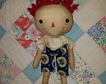 Primitive raggedy Andy boy Soldier doll, US Air force raggedy doll, handmade American pride doll