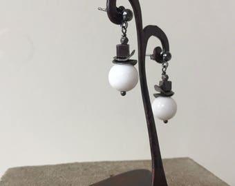 white shell pearl earrings