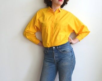 Vintage Yellow Cotton Button Up Shirt/ Oversized Pockets/ 90s Bright Yellow Primary/ Medium