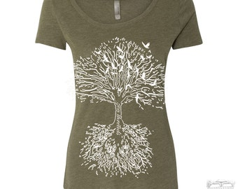 Womens ROOTS Tree TriBlend Scoop Neck Tee - T Shirt S M L XL XXL (+ Colors)