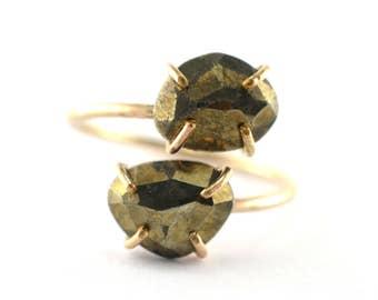 Pyrite Gemstone Ring, Dual Stone Ring, Size 6.5-7