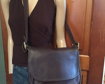 6f8142f503d6 ... Vintage Coach Patricia s Legacy Brown Leather Saddle Bag Shoulder Cross  Body Purse 9951 ...