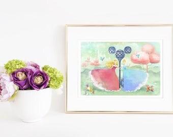 Aurora and Cinderella - open edition print