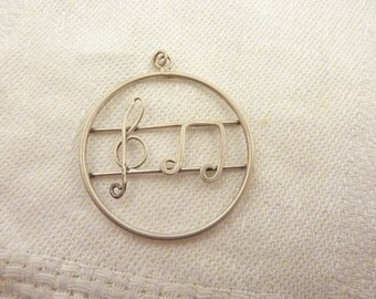 Vintage Sterling Silver Clef & Music Note Charm
