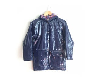 Size Youth 10 // PVC PURPLE RAINCOAT // Hooded Jacket - Polyvinyl - Plaid Lining - Snap Buttons - Waterproof - Rain Jacket - Vintage '90s.