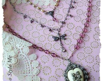 Vintage Assemblage Necklace, Layered Rosary Bead Necklace, French, Mixed Media, Upcycled, BohoStyleMe, Kaye Kraus