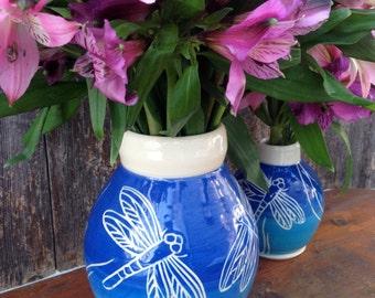 Handmade Blue Dragonfly Vase
