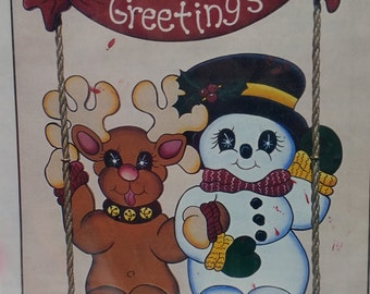 Workshoppe Originals CH 142 SNOWTIME SWINGERS ~ Complete Fun to Do Full Size Patterns & Plans for Wood Snowman Reindeer