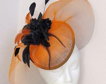 Fascinator black  orange ombre fascinator  hat wedding hat ORANGE LADY