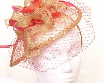 Kentucky derby fascinator neutral champaign orange fascinator hat wedding hat ENCHANTE