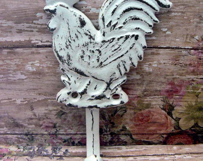 Rooster White Cast Iron Shabby Chic Country Wall Hook Home Decor