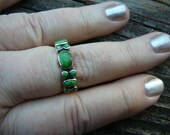 Sterling Silver Ring - Green Turquoise - Size 9