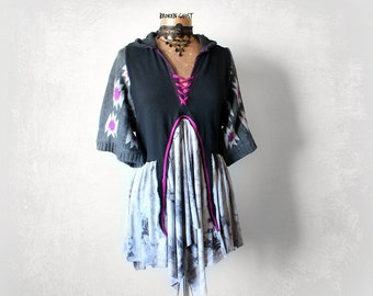 Black Hippie Hoodie Boho Women's Tunic Upcycled Hooded Top Tribal Clothing Eco Friendly Clothes Bohemian Gypsy Lagenlook Shirt L 'TRINITY'