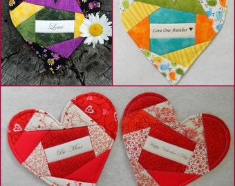 HEART Mug Rug - Valentine's Day - 58 Messages Love & Caring + 60 Holiday FREE- PDF Pattern-Mug Rug Coaster Table Setting Celebration