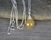 Yellow Sapphire Necklace, September Birthstone, Sapphire Gift Handmade In The UK