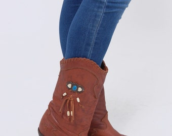Vintage 80s ZODIAC Boots SOUTHWESTERN Boots Leather SLOUCHY Boots Cowboy Boho Boots Size 8
